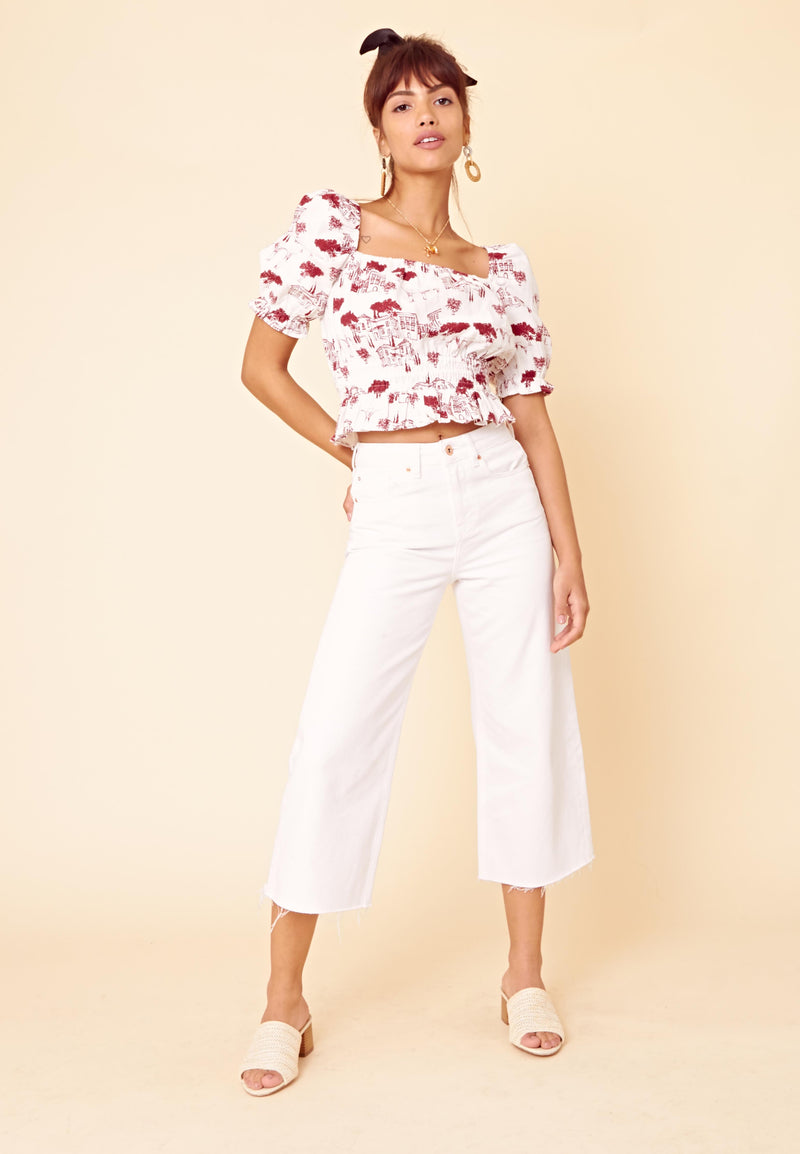 Scenic Print Puff Sleeve Crop Top <br> White