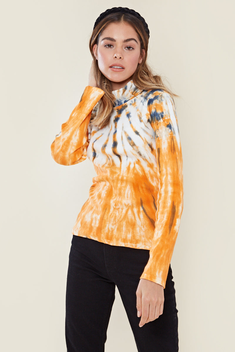 High Neck Tie Dye Top <br/> Multi