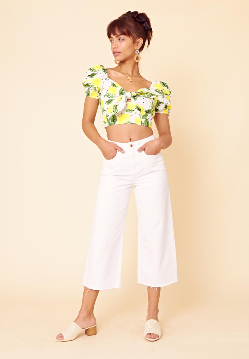 Lemon Print Tie Front Crop Top <br> White
