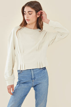 Fitted Waist Sweatshirt </br> Stone