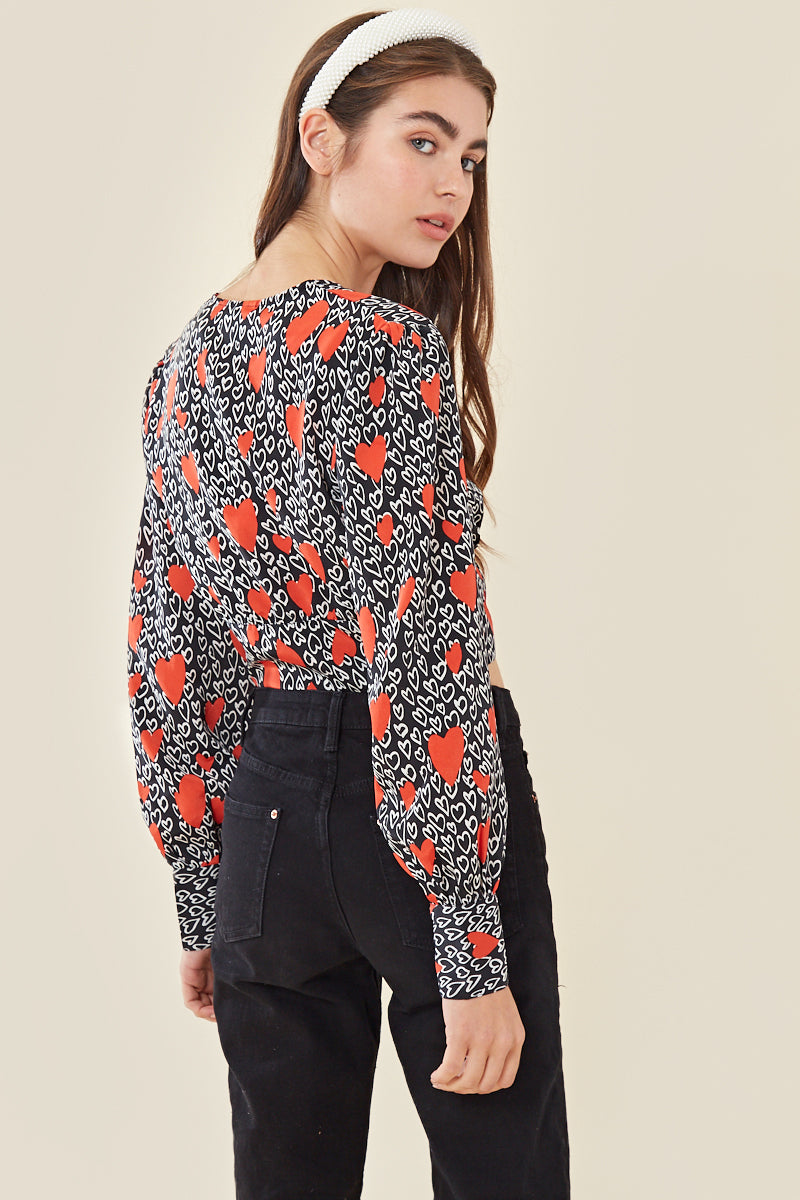 Heart Print Button Front Crop Top </br> Multi