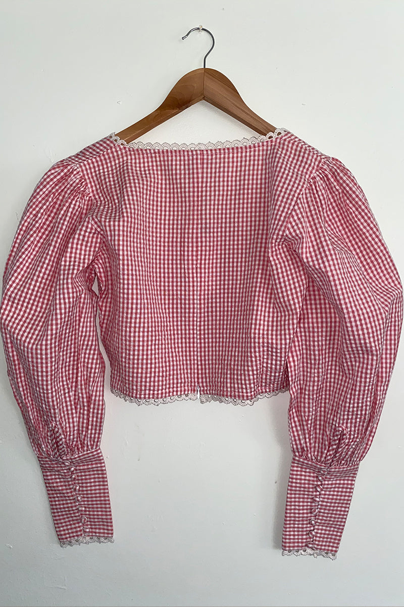 Gingham Lace Trim Milkmaid Puff Sleeve Top <br/> Red