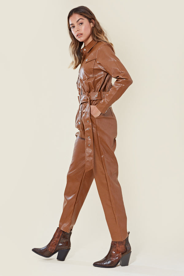 Faux Leather Belted Boilersuit <br/> Brown