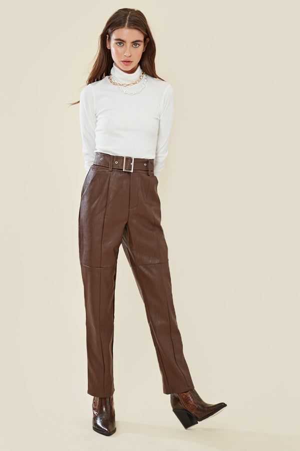 Faux Leather High Waisted Trousers </br> Brown