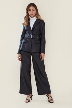 Faux Leather Wide Leg Trouser <br/> Black
