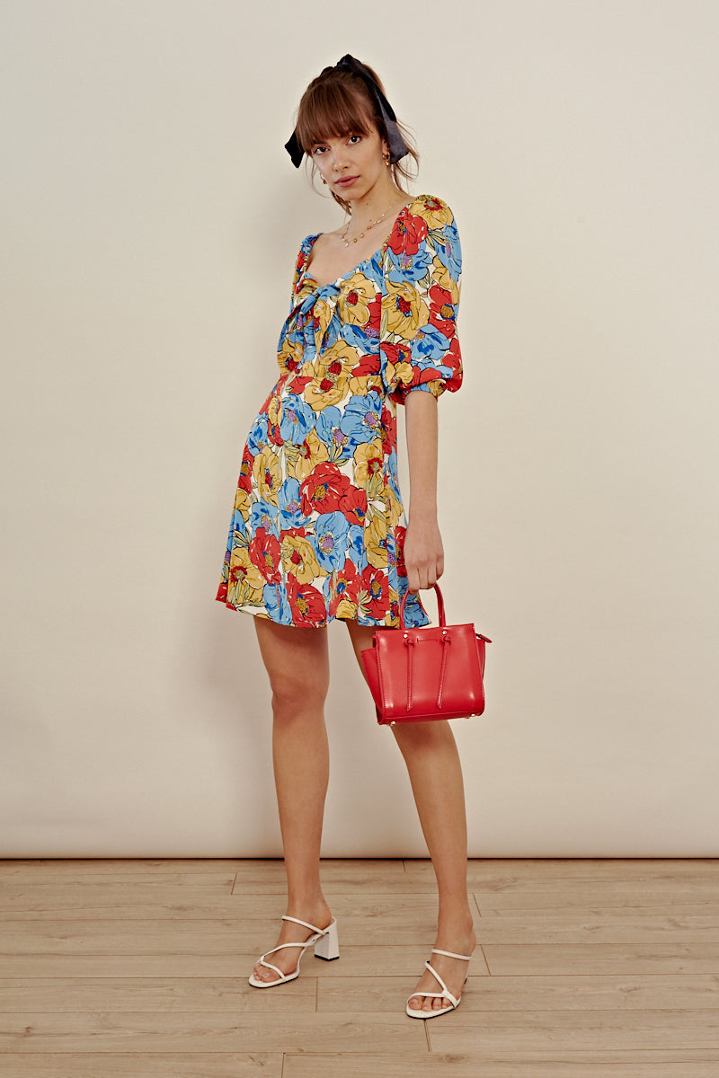 Floral Tie Front Mini Dress <br/> Multi