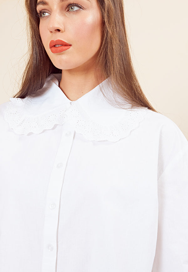 Peter Pan Collar Shirt <br> White