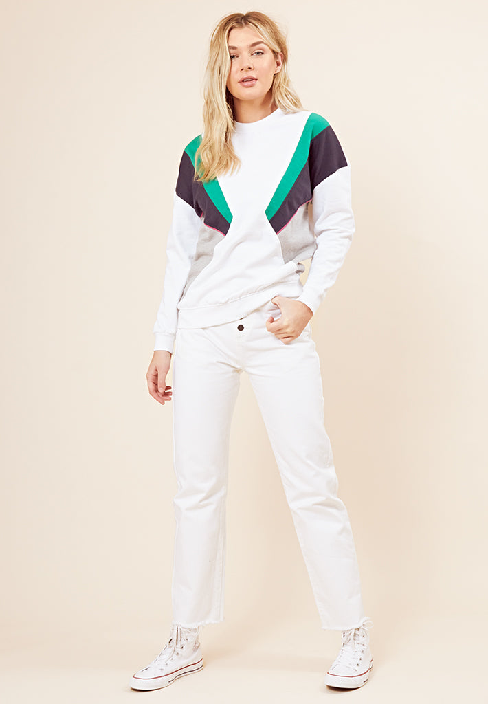 Retro Colour Block Jumper <br> White