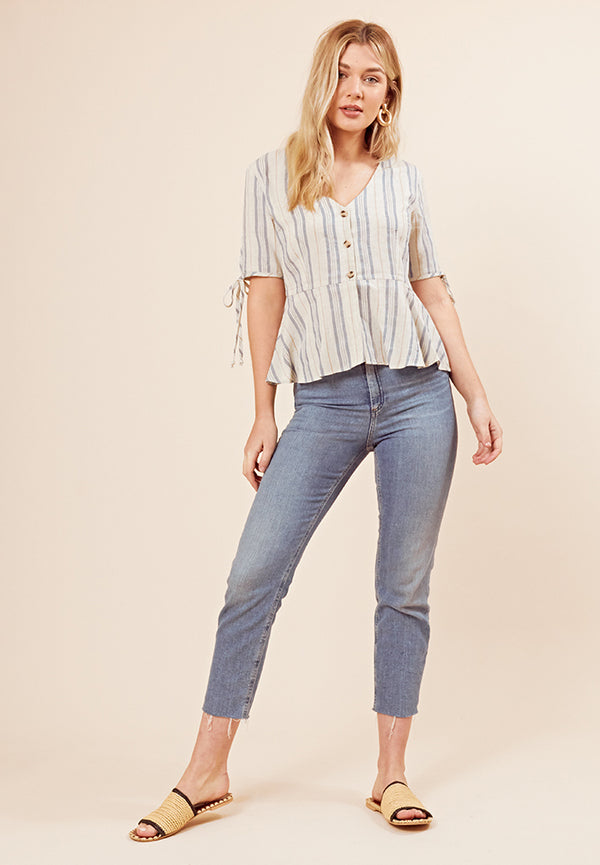 Button-Up Striped Blouse <br> Cream