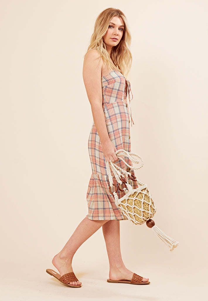 Check Ruffle Hem Midi Dress <br> Multi