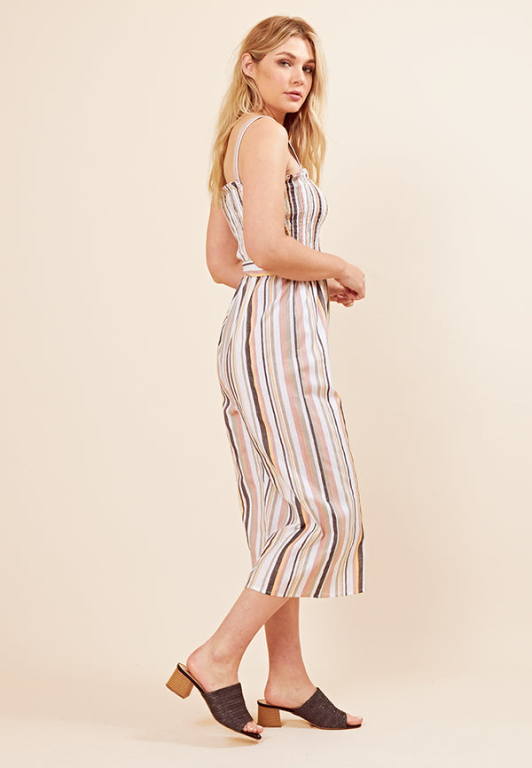 Striped Cropped Jumpsuit <br> Multi