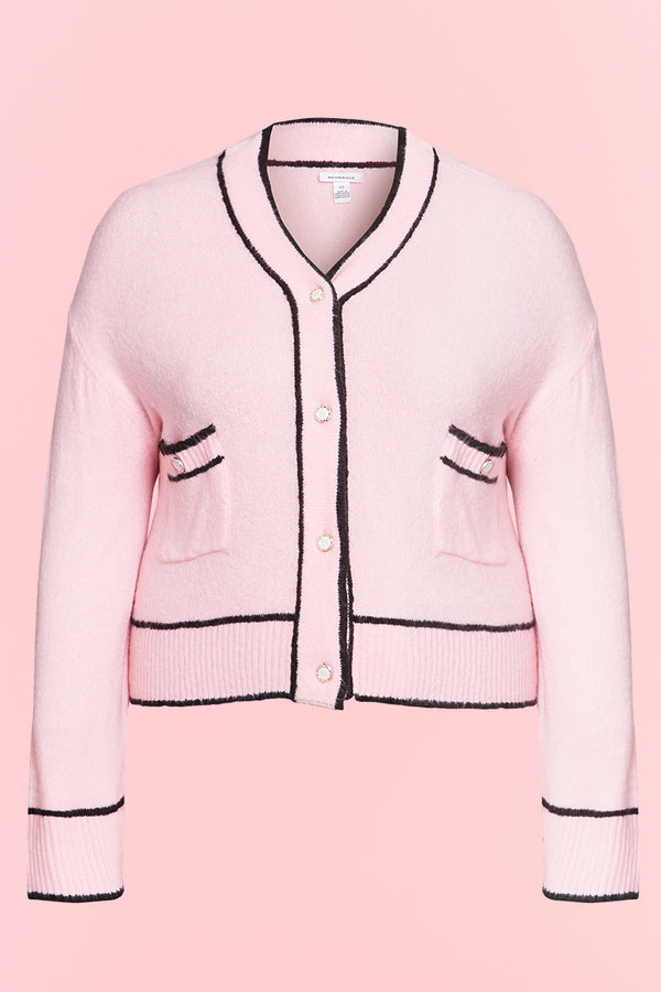 Cropped Cardigan with Crystal Buttons - Curve
