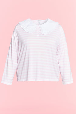 Stripe T Shirt With Frill Collar - Curve