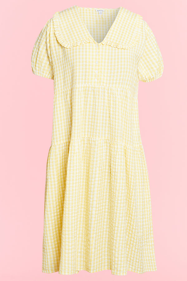 Gingham Midi Dress with Frill Collar  - Curve