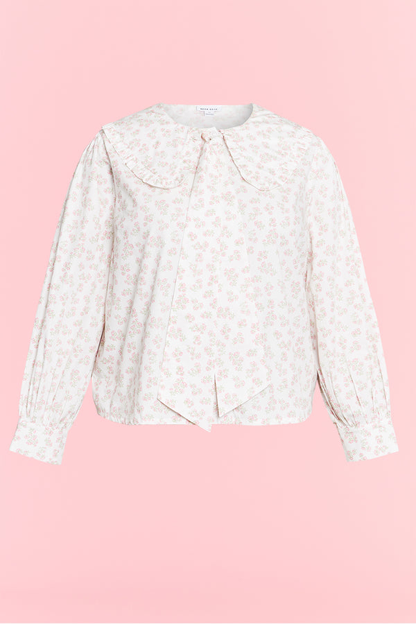 Eleanora Ditsy Floral Pussy Bow Blouse - Curve