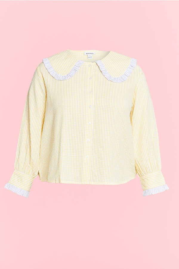 Gingham Shirt with Frill Collar - Curve