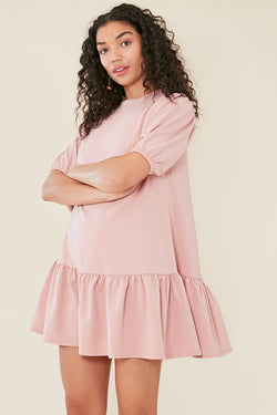 Peplum Hem Puff Sleeve Shift Dress in Pink