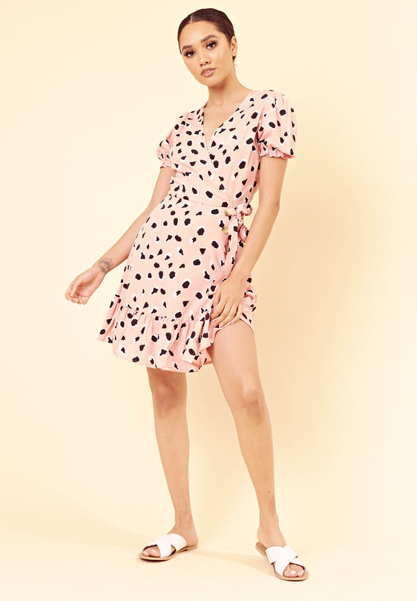 Abstract Spot Wrap Dress <br> Pink