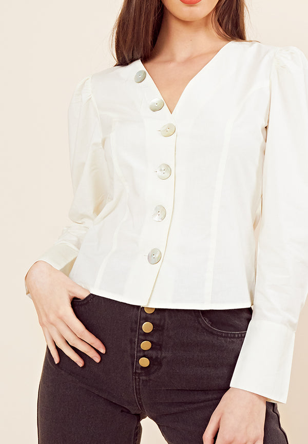 Button Front Vintage Blouse <br> Cream