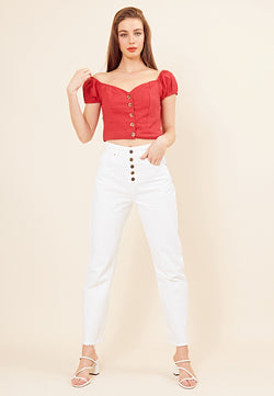 Textured Button Front Crop <br> Red