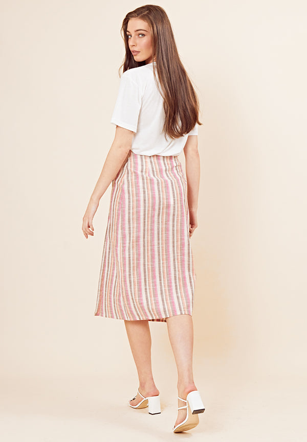 Button Front Stripe Midi Skirt  <br> Multi