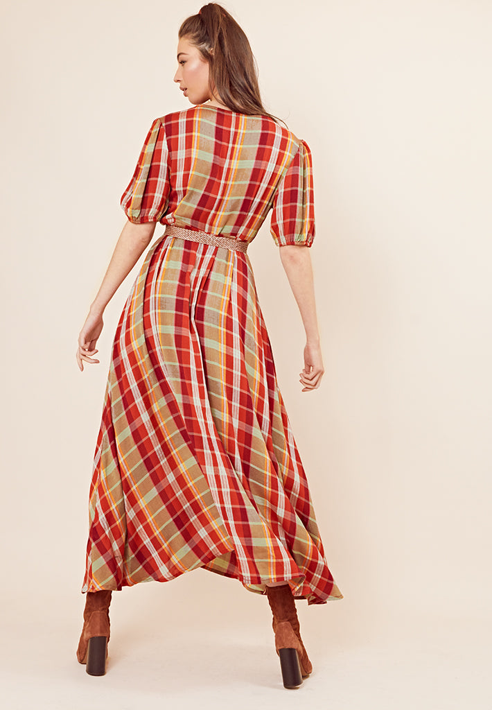 Puff Sleeve Check Print Maxi Dress <br> Multi