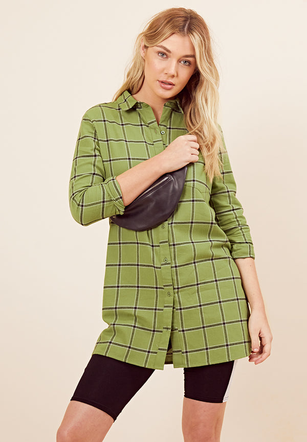 Check Shirt Dress <br> Green