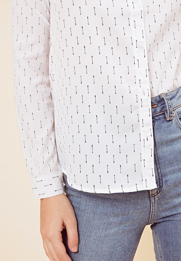 Arrow Print Shirt <br> White