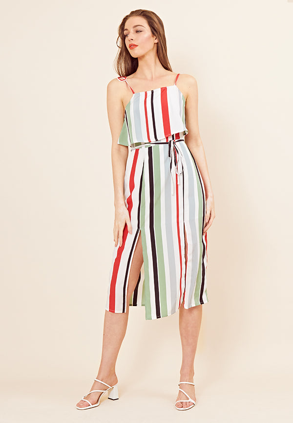 Rio Stripe Double Layer Midi Dress <br> Multi