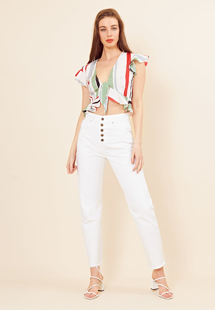 Rio Stripe Tie Front Crop <br> Multi