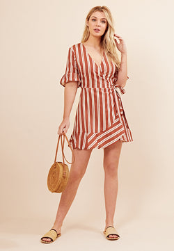 Stripe Wrap Mini Dress <br> Red