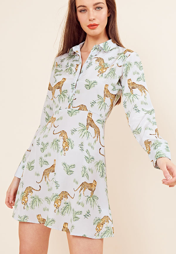 Savannah Leopard Shirt Dress <br> Blue