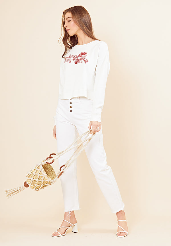 Scenic Embroidered Cropped Sweater <br> White