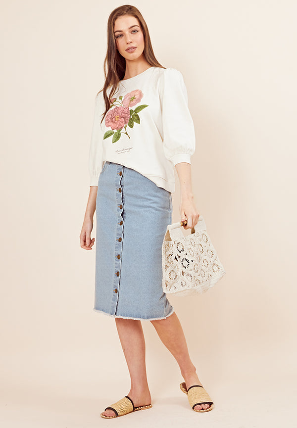 Botanical Floral Puff Sleeve Sweater <br> Cream