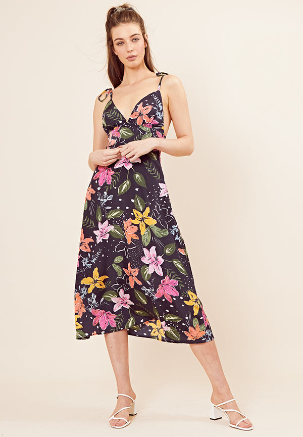 Strappy Floral Midi Dress <br> Navy