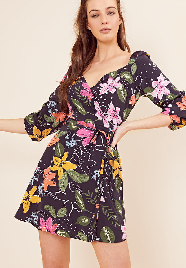 Wrap Floral Mini Dress <br> Navy