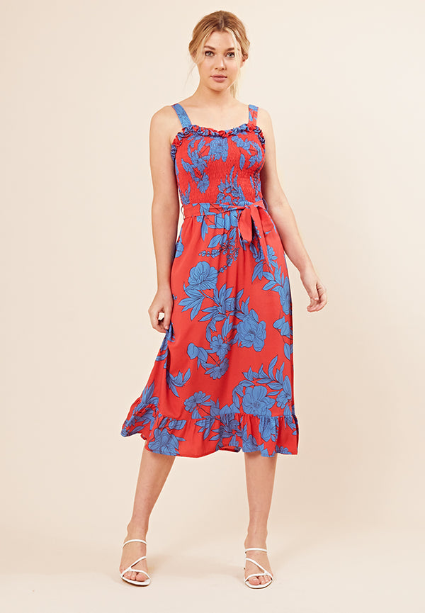 Shirred Ruffle Midi Dress <br> Red