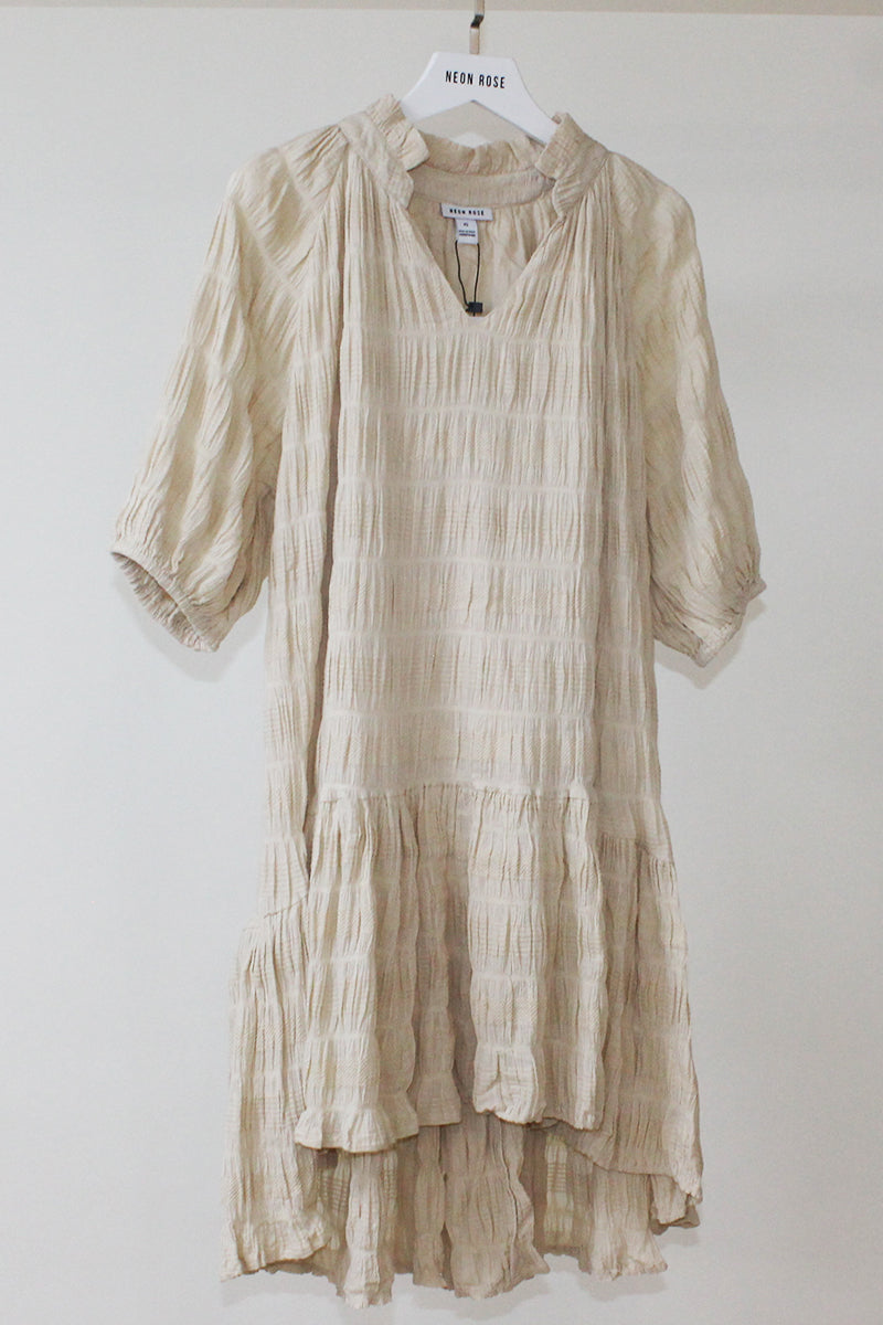 Textured Drop Waist Smock Dress <br/> Stone