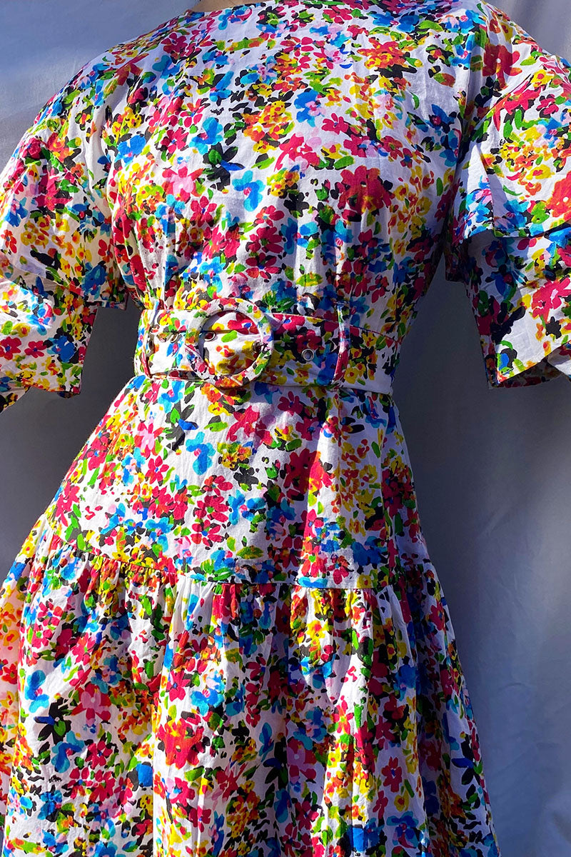 Suzie Ditsy Floral Belted Tiered Sleeves Mini Dress <br/> Multi