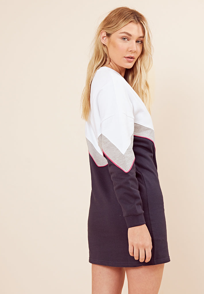 Retro Colour Block Jumper Dress <br> White