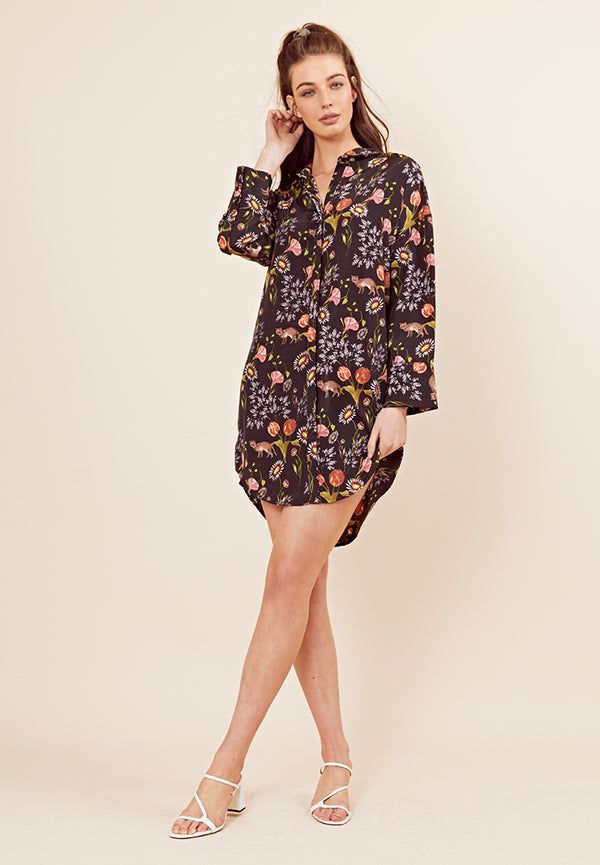 Botanical Print Shirt Dress <br> Black