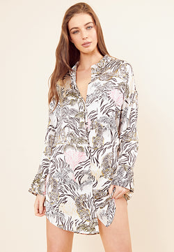 Tallulah Tiger Satin Shirt Dress <br> Cream