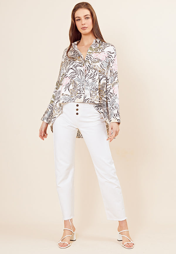 Tallulah Tiger Satin Swing Blouse <br> Cream