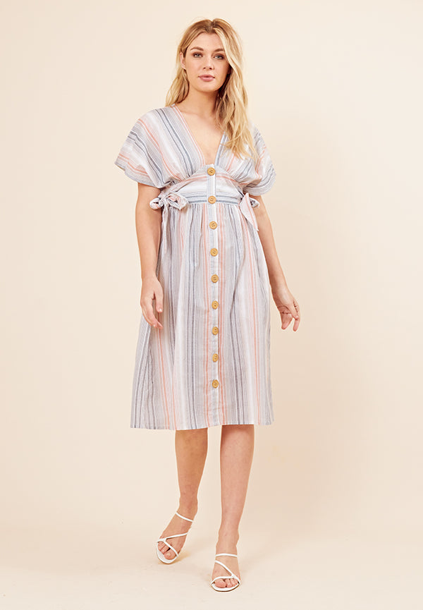 Tie-Side Stripe Midi Dress <br> Multi