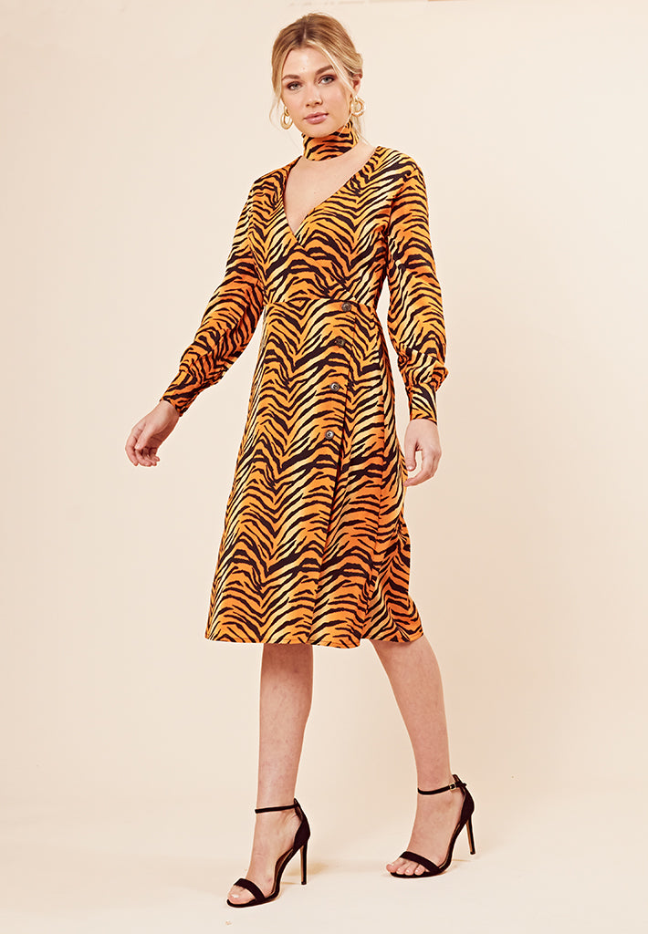 Tiger Print Button Detail Midi Dress <br> Orange