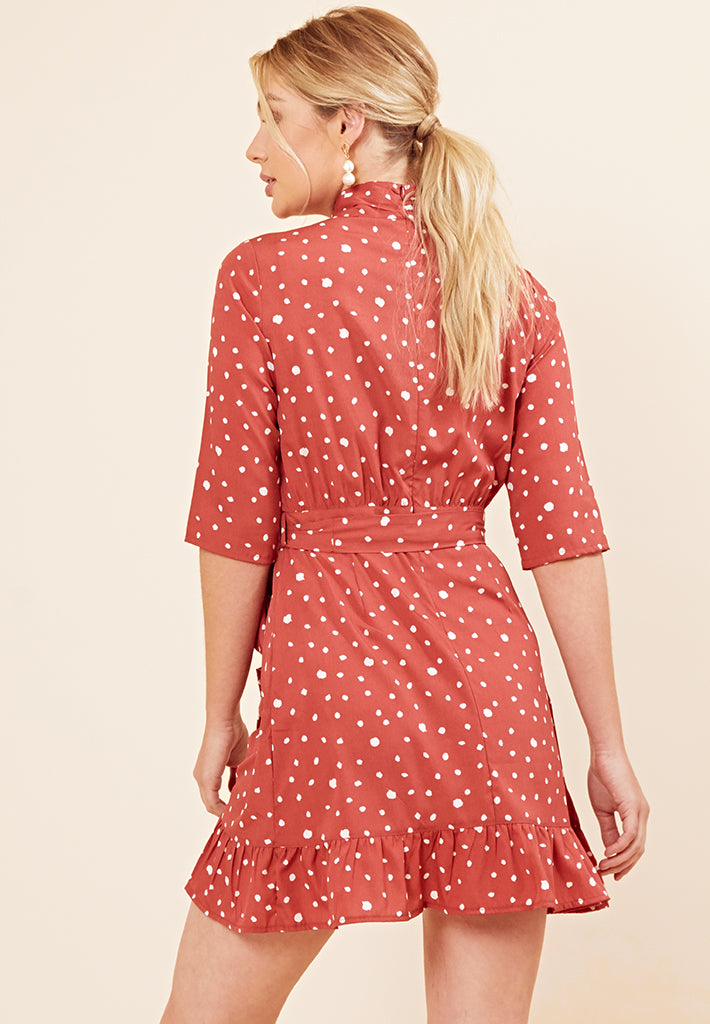 Polkadot Frill Mini Dress <br> Red