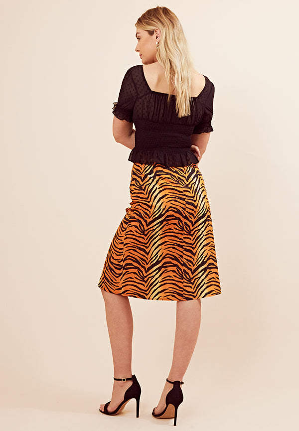 Tiger Print Split Midi Skirt <br> Pink