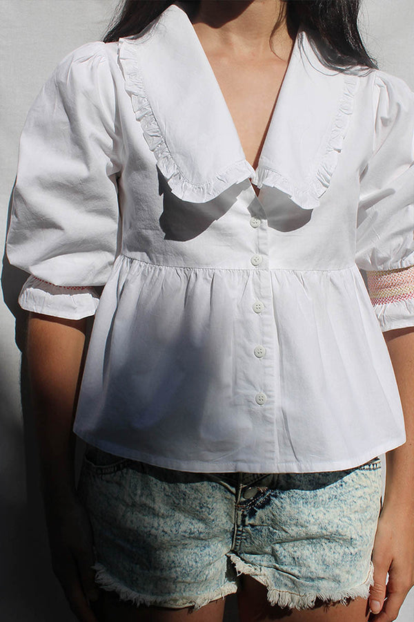 Peplum Peter Pan Collar Shirt <br/> White