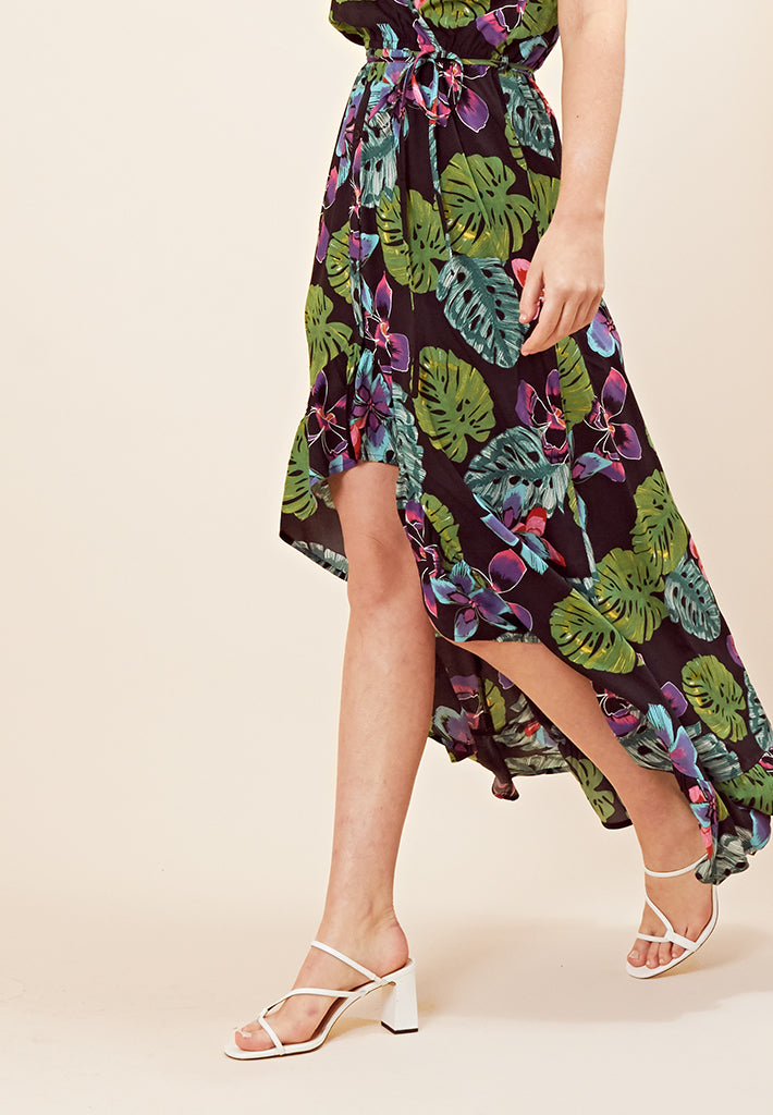 Stepped Hem Tropical Print Maxi Dress <br> Multi