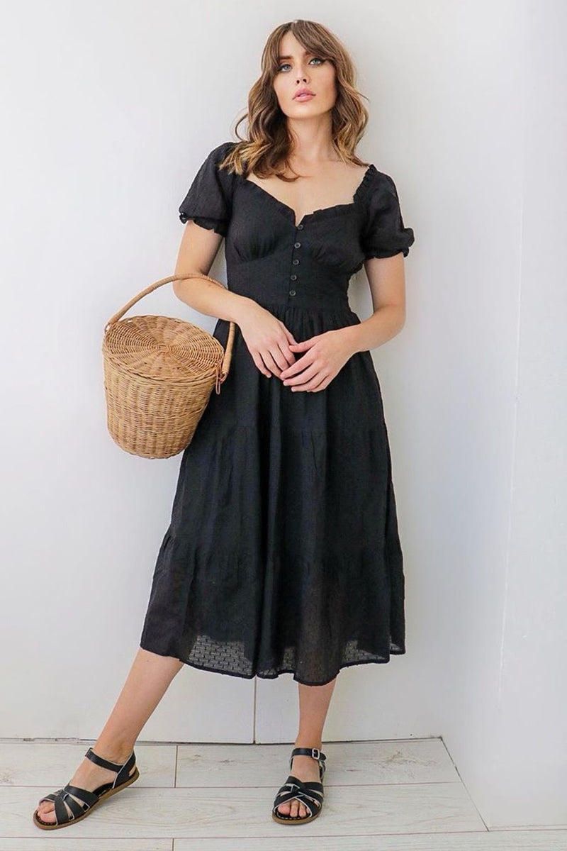 Textured Dobby Tiered Midi Dress <br/> Black